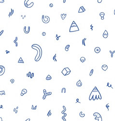 Abstract blue doodles seamless pattern vector