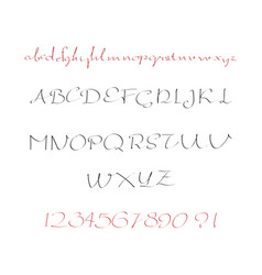 alphabet letters lowercase uppercase and numbers vector image