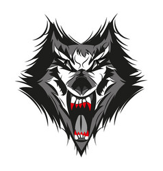 Angry face of terrible wolf vector