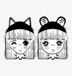 Anime cute happy women with costume vector
