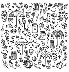 Autumn doodle black and white background vector