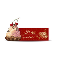 banner with cake for valentines day vector image