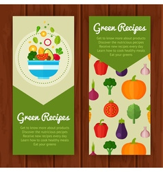 Banners with flat vegetable icons vector