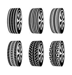 black rubber tyre texture tire vector image