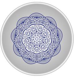 blue mandala on a plate vector image