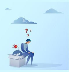 business man sitting on bomb credit debt finance vector image