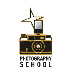 Camera flash photography school icon vector