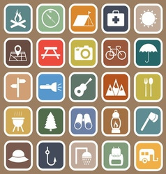 Camping flat icons on brown background vector