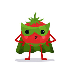 Cartoon character of red tomato in green mask vector