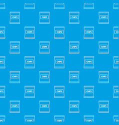 chips pattern seamless blue vector image