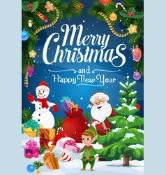 christmas elf santa and snowman with gifts vector image