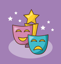 Cinema mask over purple background design vector