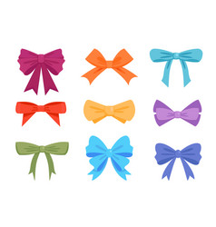 colorful gift bows and ribbons flat vector image