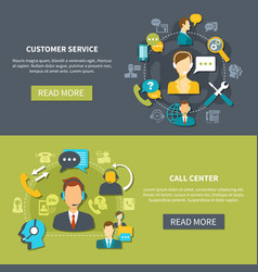 Customer support service banners vector