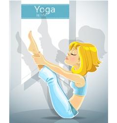 cute blond girl in a yoga pose meru danda asana vector image