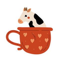 Cute cow in teacup adorable little calf animal vector