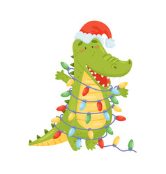Cute green humanized crocodile is wrapped vector