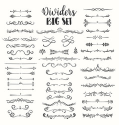 Decorative flourishes hand drawn dividers vector