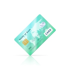 Detailed glossy green credit card icon vector image