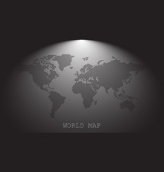 Dotted blank black world map isolated on grey vector