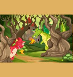 dragons in castle wood scene vector image