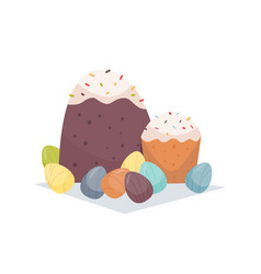 easter cakes and decorated eggs happy spring vector image