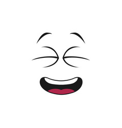 Emoticon with open mouth laughing with blinked eye vector