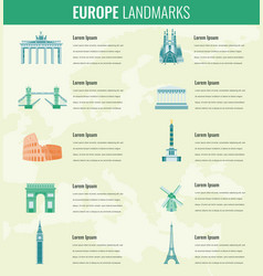 Europe landmarks infographics set travel and vector