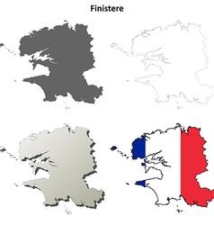 Finistere Brittany outline map set vector