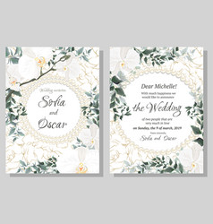 Floral template for wedding invitations orchid vector
