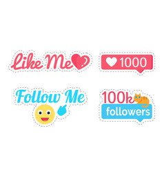 follow and like me followers number set vector image