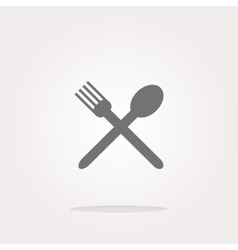 Food button spoon and fork on web icon vector image