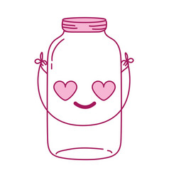 Full color mason glass in love kawaii with wire vector