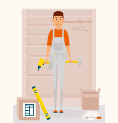 Furniture assembly service man cartoon vector