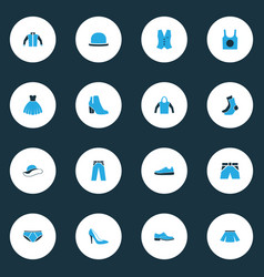 Garment colorful icons set collection of jacket vector