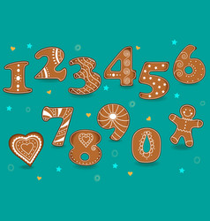 ginger cookies numbers vector image