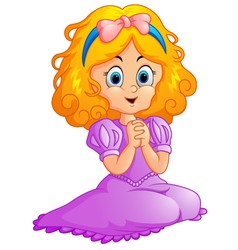 Girl Wearing a Princess Costume vector