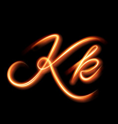Glowing light letter k hand lighting painting vector
