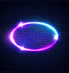 Glowing oval frame night club electric sign vector