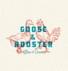 goose and rooster beer and snacks abstract vector image