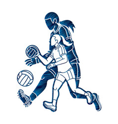 Group gaelic football female players vector