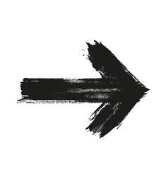 Grunge arrow brush paint black vector