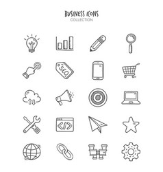 hand drawn business doodle icons vector image