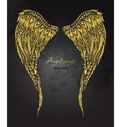 Hand drawn ornate golden angel wings in entangle vector