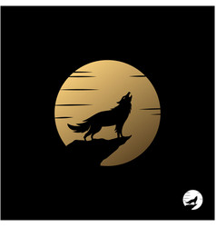 howling wolf with golden moon logo design vector image