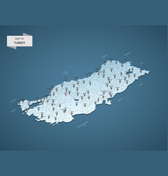 isometric 3d turkey map concept vector image