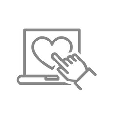 laptop with heart and hand cursor line icon vector image