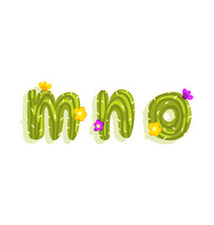 latin alphabet green cactus with blooming vector image