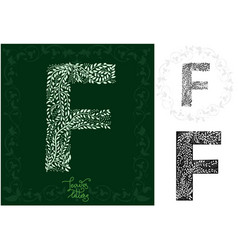 leaves alphabet letter f vector image