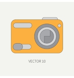 Line flat icon with digital mini camera vector image